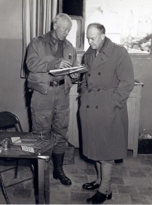 Gen. Dwight Eisenhower and Lt. General Patton in Tunisia, 1945.  Photo by U. S. Army