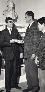 Monty (l) and Bob present a copy of New Writing from Virginia to UVA President Edgar Shannon in 1963 prior to sailing for Europe.